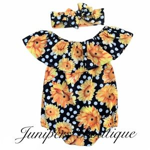 Other - Baby Sunflower & Dots Romper
